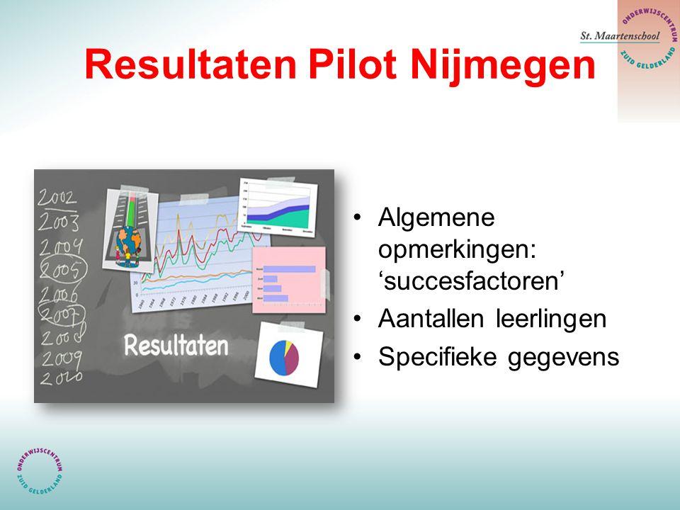 Resultaten Pilot Nijmegen Algemene opmerkingen: 'succesfactoren' Aantallen leerlingen Specifieke gegevens