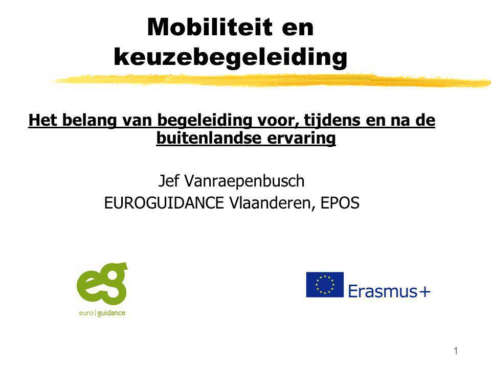 1 Mobiliteit en keuzebegeleiding Het belang van begeleiding voor, tijdens en na de buitenlandse ervaring Jef Vanraepenbusch EUROGUIDANCE Vlaanderen, E