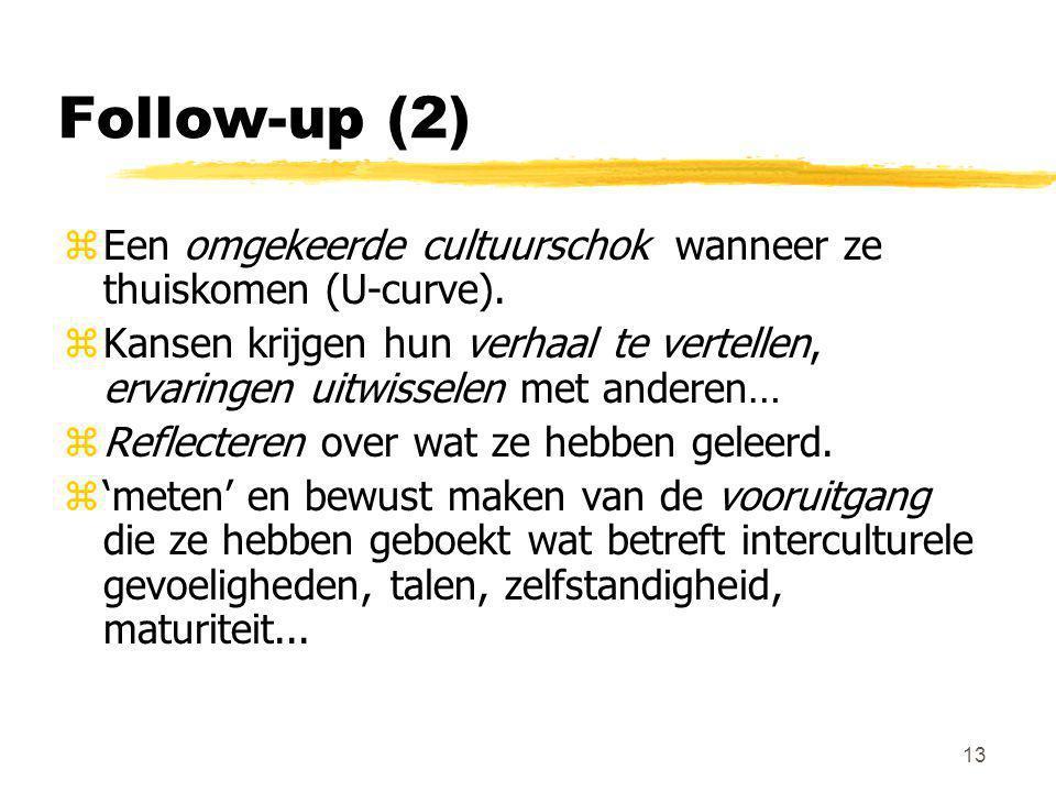 13 Follow-up (2) zEen omgekeerde cultuurschok wanneer ze thuiskomen (U-curve). zKansen krijgen hun verhaal te vertellen, ervaringen uitwisselen met an