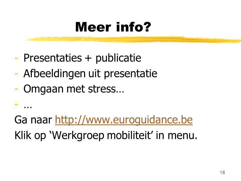 Meer info? -Presentaties + publicatie -Afbeeldingen uit presentatie -Omgaan met stress… -… Ga naar http://www.euroguidance.behttp://www.euroguidance.b