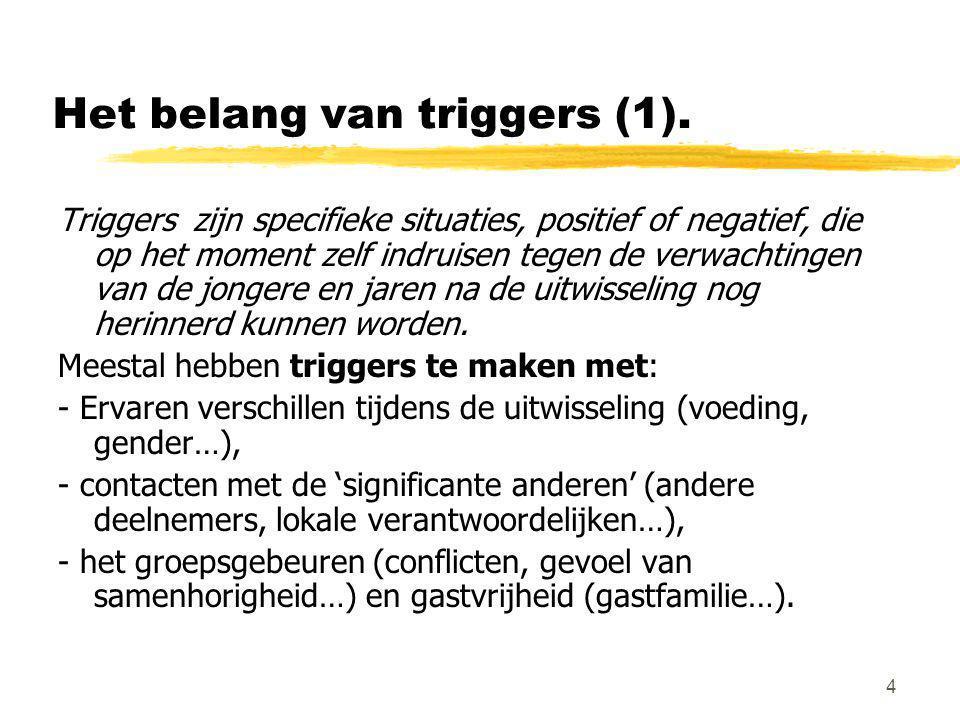 4 Het belang van triggers (1). Triggers zijn specifieke situaties, positief of negatief, die op het moment zelf indruisen tegen de verwachtingen van d