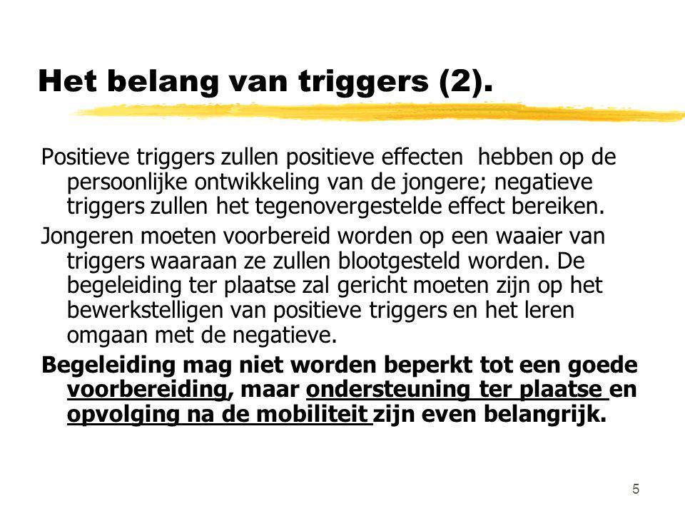 5 Het belang van triggers (2). Positieve triggers zullen positieve effecten hebben op de persoonlijke ontwikkeling van de jongere; negatieve triggers