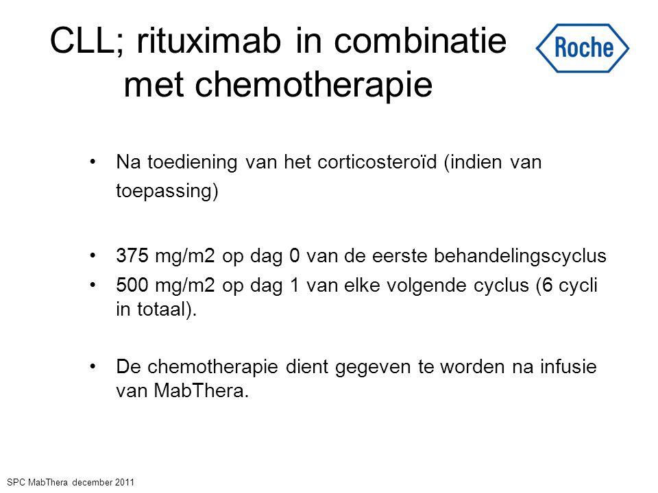 CLL; rituximab in combinatie met chemotherapie Na toediening van het corticosteroïd (indien van toepassing) 375 mg/m2 op dag 0 van de eerste behandeli