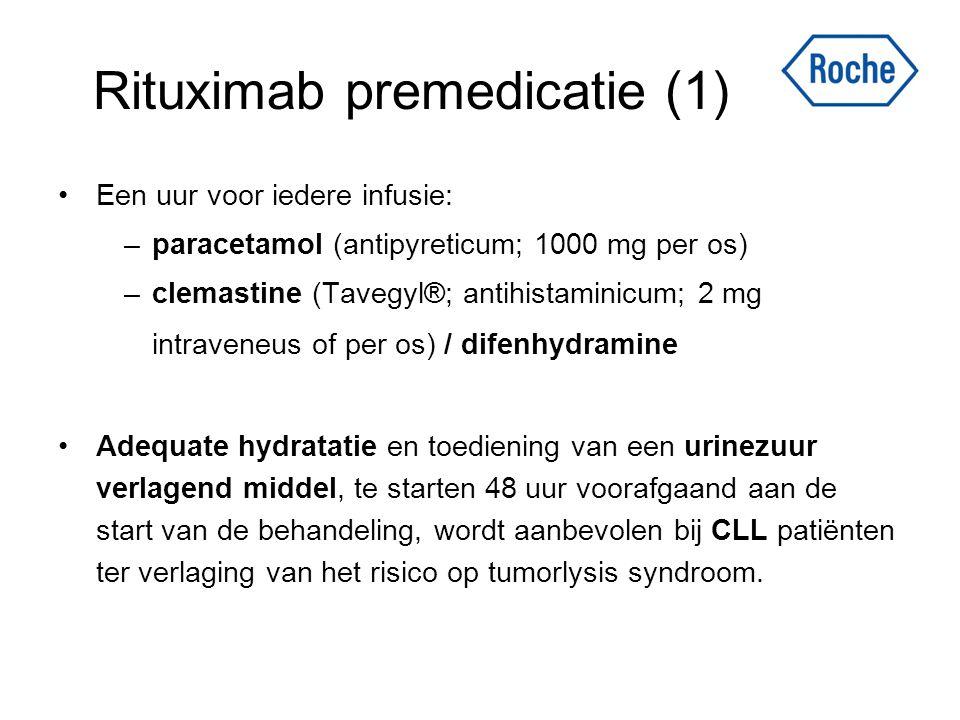 Rituximab premedicatie (1) Een uur voor iedere infusie: –paracetamol (antipyreticum; 1000 mg per os) –clemastine (Tavegyl®; antihistaminicum; 2 mg int