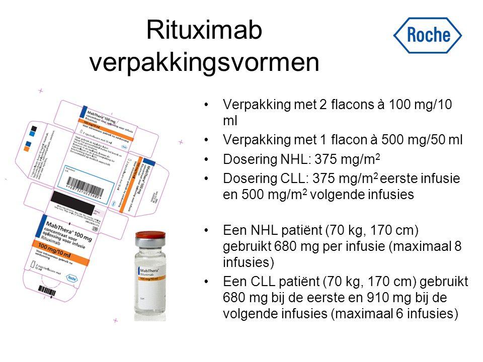 Rituximab verpakkingsvormen Verpakking met 2 flacons à 100 mg/10 ml Verpakking met 1 flacon à 500 mg/50 ml Dosering NHL: 375 mg/m 2 Dosering CLL: 375