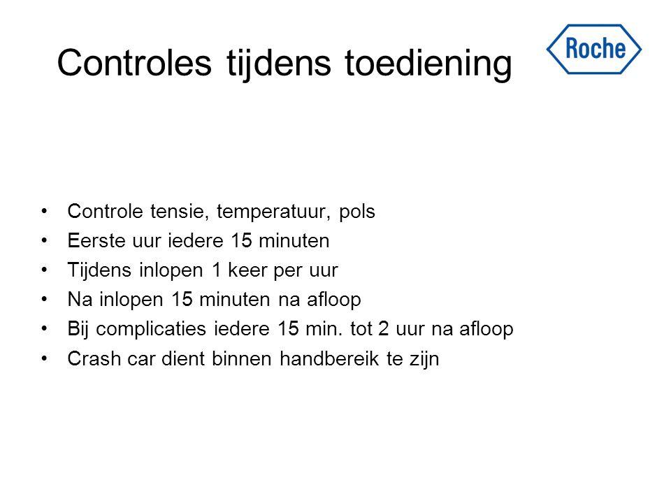 Controles tijdens toediening Controle tensie, temperatuur, pols Eerste uur iedere 15 minuten Tijdens inlopen 1 keer per uur Na inlopen 15 minuten na a