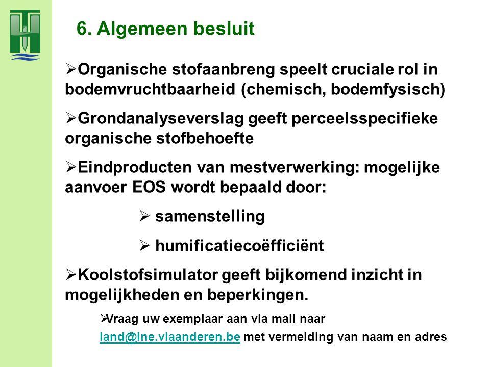 6. Algemeen besluit  Organische stofaanbreng speelt cruciale rol in bodemvruchtbaarheid (chemisch, bodemfysisch)  Grondanalyseverslag geeft perceels