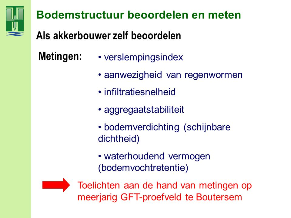 GFT- compostproef te Boutersem, sinds 1997 gelegen te Boutersem Project uitgevoerd door Bodemkundige Dienst met financiële steun van Provincie Vlaams-Brabant en Vlaco en Ecowerf