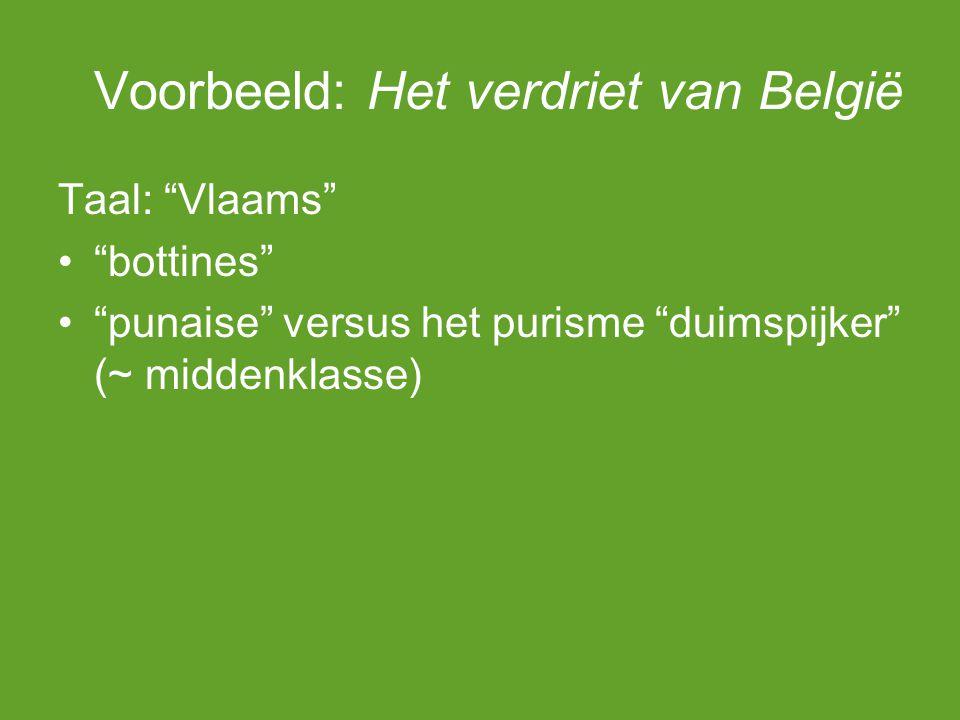 Voorbeeld: Het verdriet van België Taal: Vlaams bottines punaise versus het purisme duimspijker (~ middenklasse)