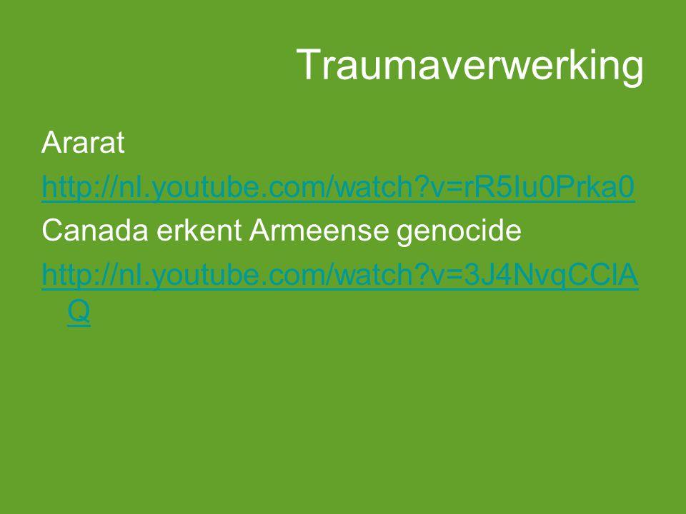Traumaverwerking Ararat http://nl.youtube.com/watch?v=rR5Iu0Prka0 Canada erkent Armeense genocide http://nl.youtube.com/watch?v=3J4NvqCClA Q