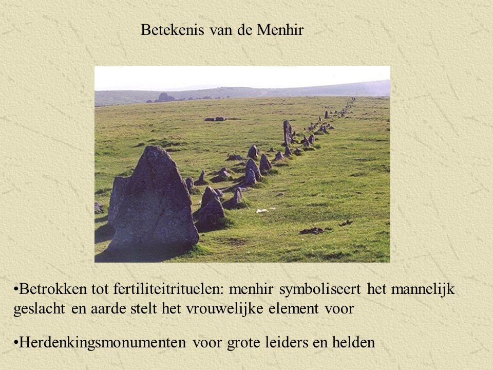 Betekenis van de Menhir Betrokken tot fertiliteitrituelen: menhir symboliseert het mannelijk geslacht en aarde stelt het vrouwelijke element voor Herd