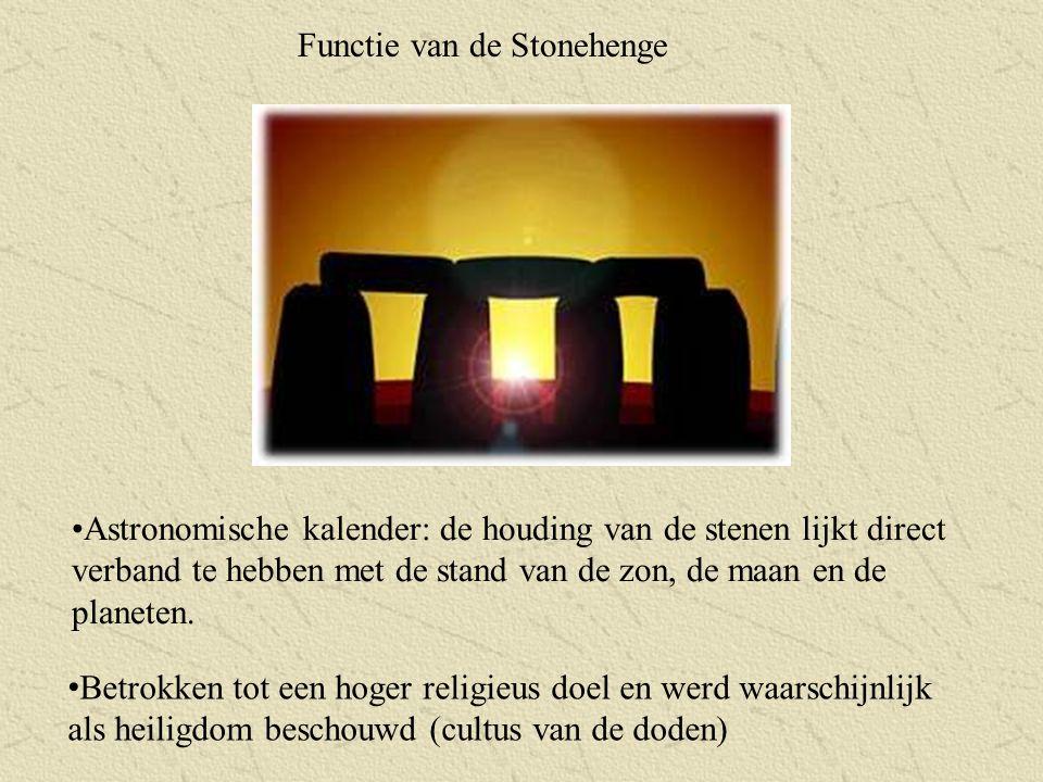 Functie van de Stonehenge Astronomische kalender: de houding van de stenen lijkt direct verband te hebben met de stand van de zon, de maan en de plane