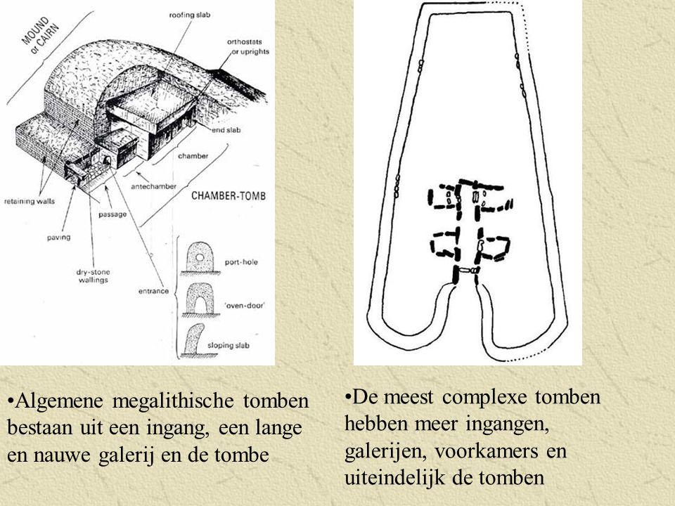 Algemene megalithische tomben bestaan uit een ingang, een lange en nauwe galerij en de tombe De meest complexe tomben hebben meer ingangen, galerijen,