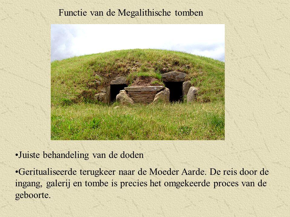 Functie van de Megalithische tomben Juiste behandeling van de doden Geritualiseerde terugkeer naar de Moeder Aarde. De reis door de ingang, galerij en