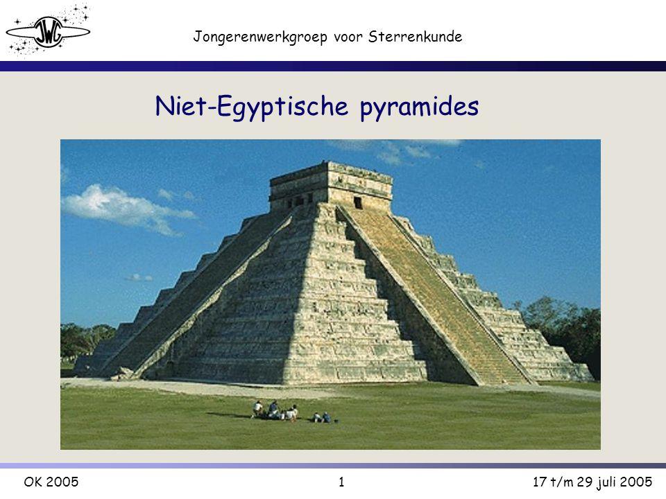 2 Jongerenwerkgroep voor Sterrenkunde OK 200517 t/m 29 juli 2005 Pyramides Meestal heilige plaatsen Hoge-energie-punten / aardstralen etc.