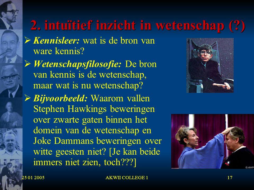 25 01 2005AKWII COLLEGE 117 2. intuïtief inzicht in wetenschap (?)  Kennisleer: wat is de bron van ware kennis?  Wetenschapsfilosofie: De bron van k