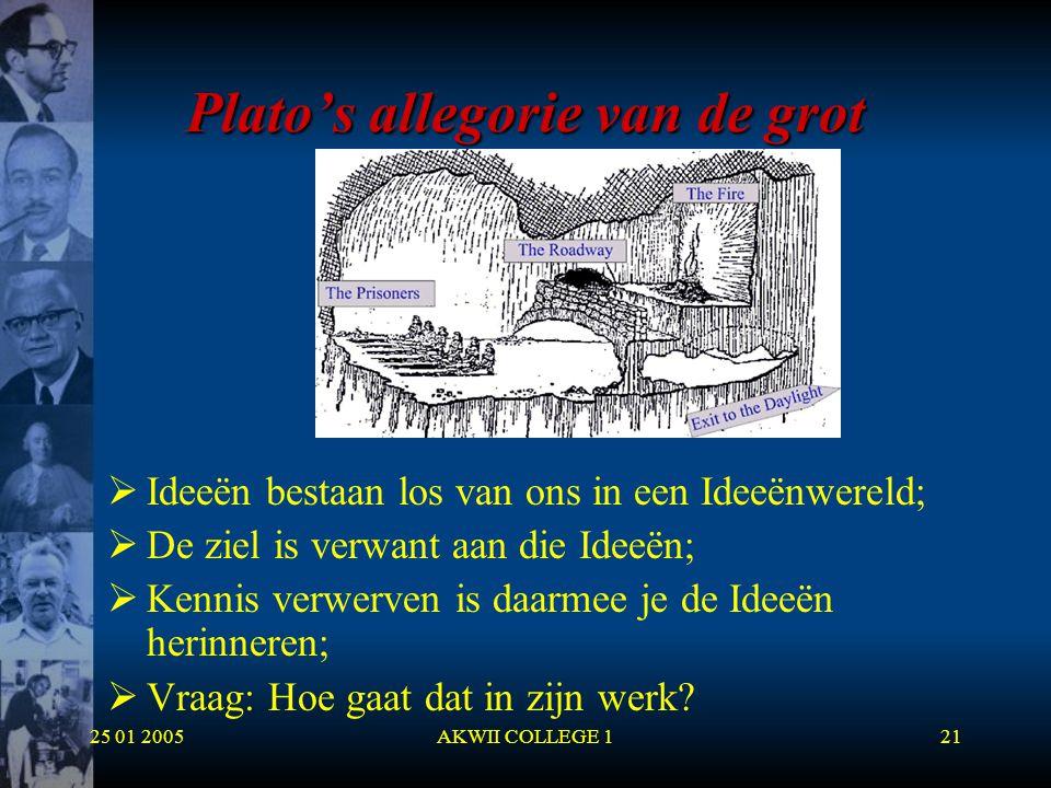 25 01 2005AKWII COLLEGE 121 Plato's allegorie van de grot  Ideeën bestaan los van ons in een Ideeënwereld;  De ziel is verwant aan die Ideeën;  Ken