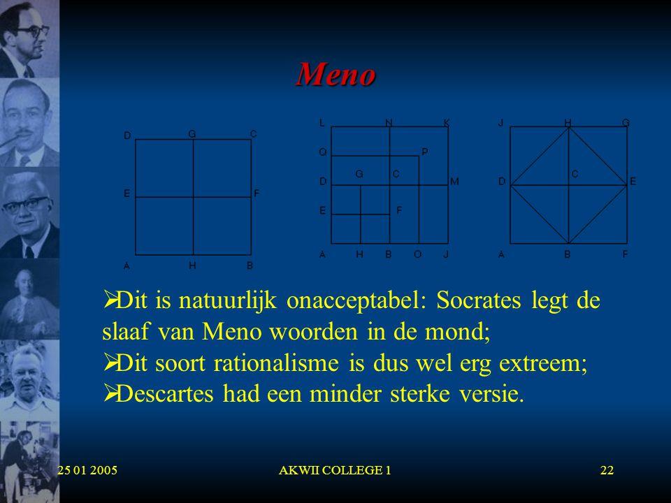 25 01 2005AKWII COLLEGE 122 Meno  Dit is natuurlijk onacceptabel: Socrates legt de slaaf van Meno woorden in de mond;  Dit soort rationalisme is dus