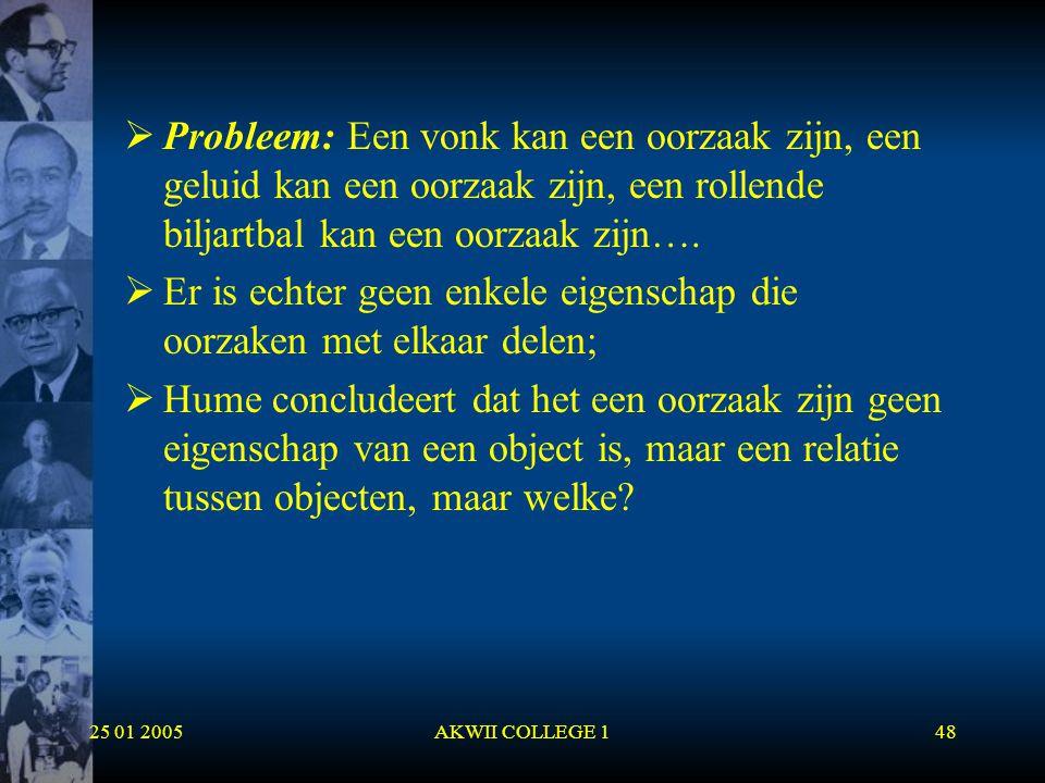 25 01 2005AKWII COLLEGE 148  Probleem: Een vonk kan een oorzaak zijn, een geluid kan een oorzaak zijn, een rollende biljartbal kan een oorzaak zijn….