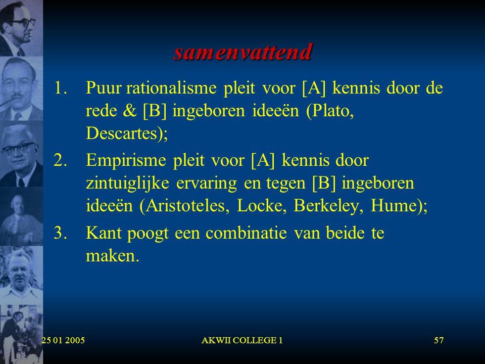 25 01 2005AKWII COLLEGE 157 samenvattend 1.Puur rationalisme pleit voor [A] kennis door de rede & [B] ingeboren ideeën (Plato, Descartes); 2.Empirisme