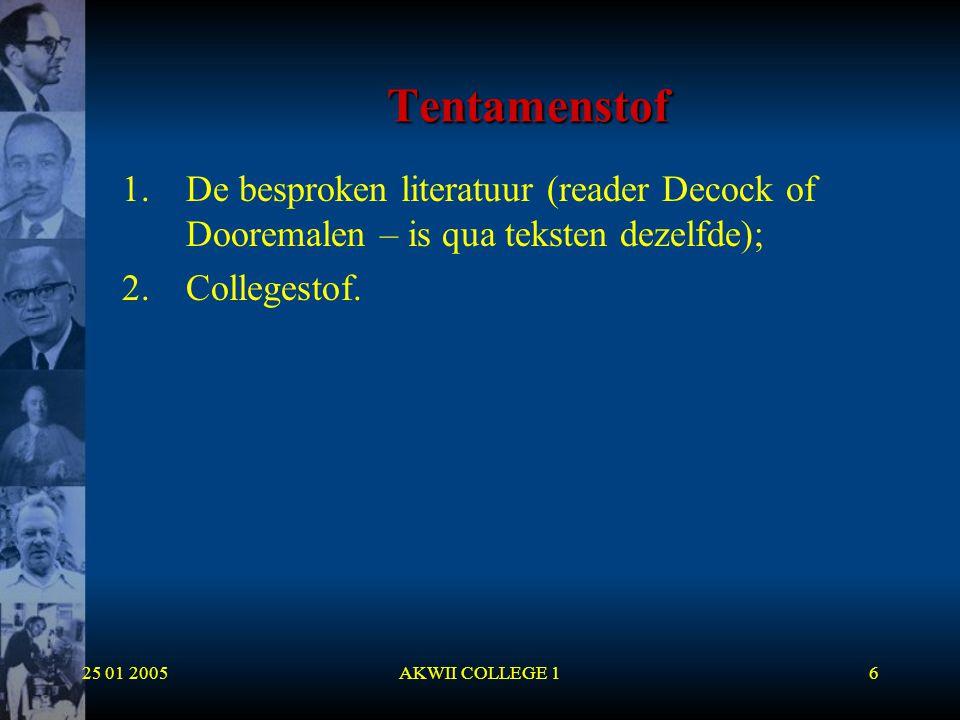 25 01 2005AKWII COLLEGE 127 Ingeboren ideeën  Descartes geloofde ook dat ideeën ingeboren kunnen zijn;  Hij maakt een verschil tussen:  (1) Ingeboren ideeën (driehoek, god);  (2) Verworven ideeën (zon);  (3) Verzonnen ideeën (Pegasus);  Het verschil met Plato is duidelijk: Niet alle ideeën zijn ingeboren.