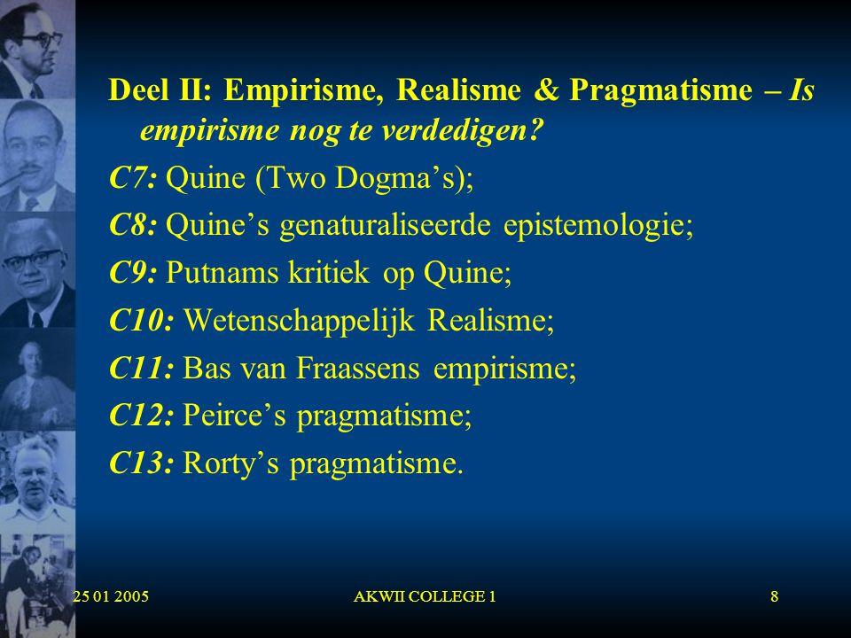 25 01 2005AKWII COLLEGE 129 Discussie met Voetius  Descartes verzette zich tegen de Aristotelische traditie;  Op 23 & 24 december 1641 houdt Voetius aan de Universiteit van Utrecht lezingen waarin hij de Aristotelische fysica verdedigde en degenen die eraan tornden beschuldigde van het bederven van de academische jeugd en meende dat ze zouden eindigen als atheïsten of beesten.