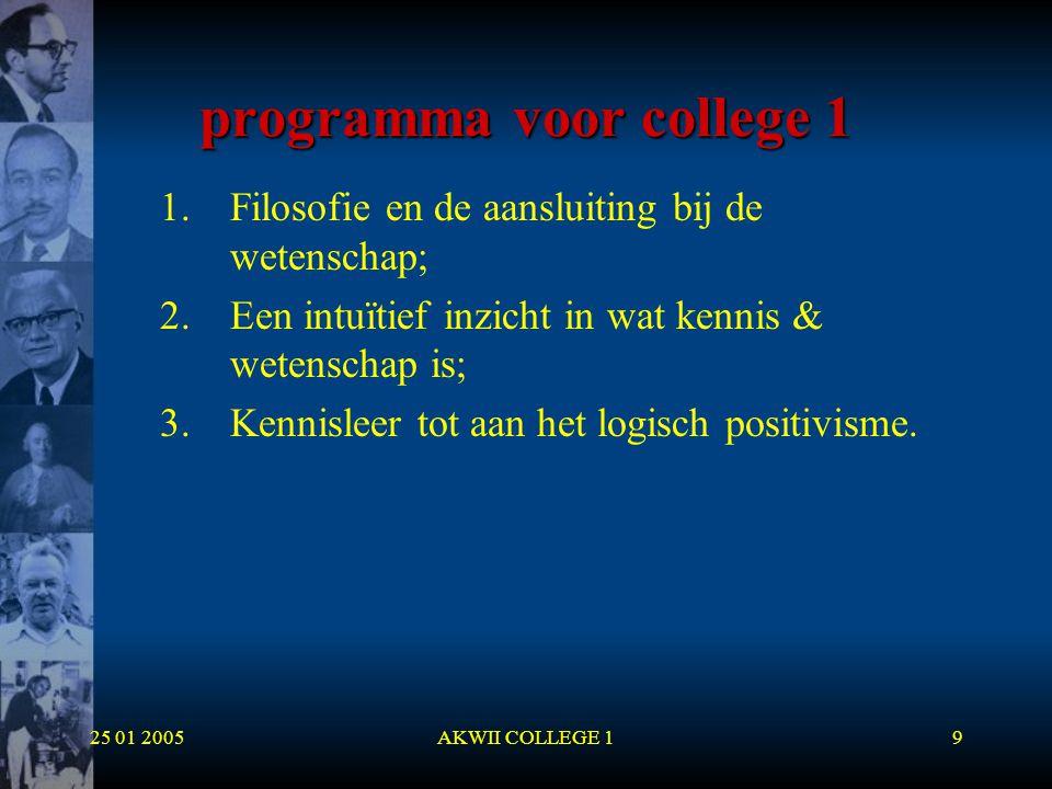 25 01 2005AKWII COLLEGE 19 programma voor college 1 1.Filosofie en de aansluiting bij de wetenschap; 2.Een intuïtief inzicht in wat kennis & wetenscha