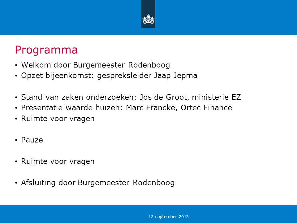 12 september 2013 Programma Welkom door Burgemeester Rodenboog Opzet bijeenkomst: gespreksleider Jaap Jepma Stand van zaken onderzoeken: Jos de Groot,