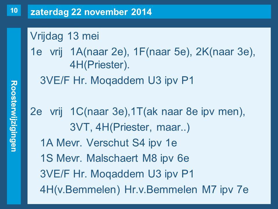 zaterdag 22 november 2014 Roosterwijzigingen Vrijdag 13 mei 1evrij1A(naar 2e), 1F(naar 5e), 2K(naar 3e), 4H(Priester).