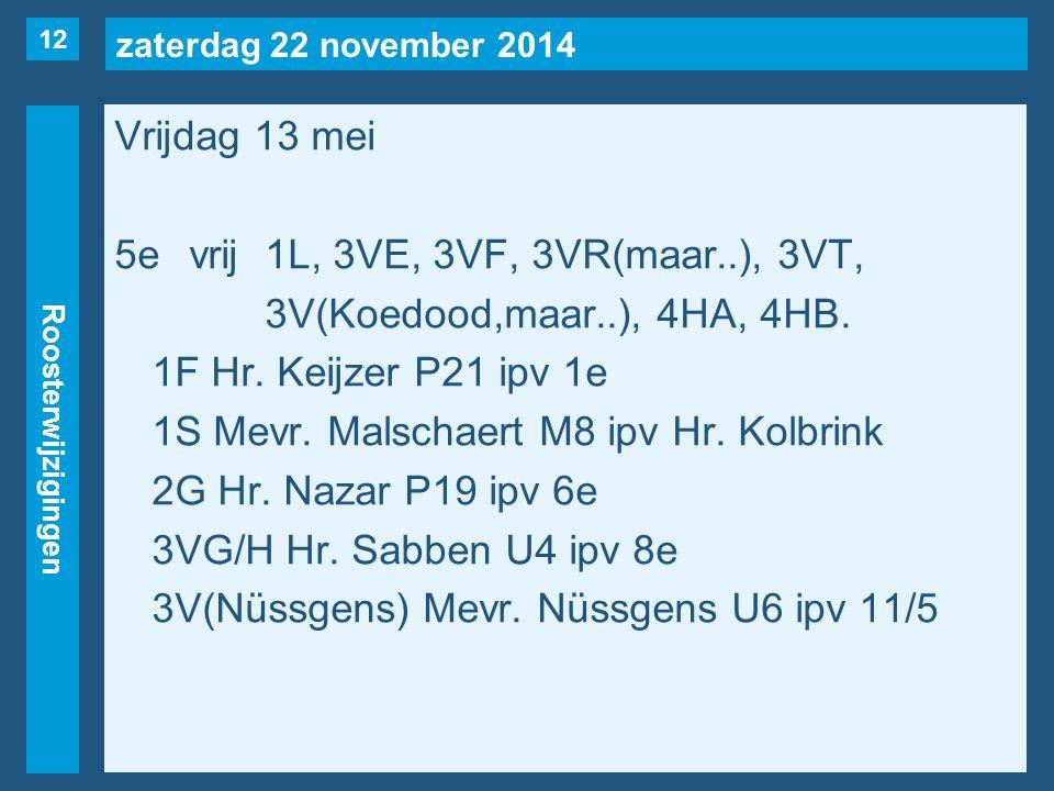 zaterdag 22 november 2014 Roosterwijzigingen Vrijdag 13 mei 5evrij1L, 3VE, 3VF, 3VR(maar..), 3VT, 3V(Koedood,maar..), 4HA, 4HB.