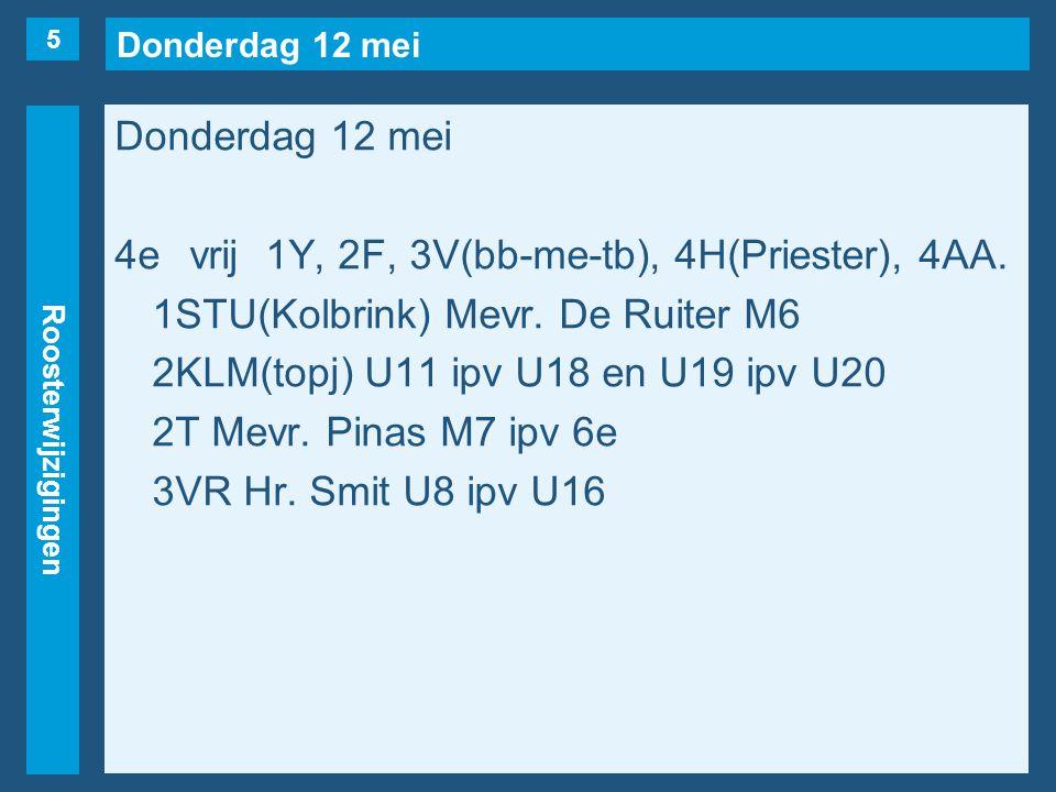 Donderdag 12 mei Roosterwijzigingen Donderdag 12 mei 5evrij1A, 1Y, 2F, 3V(bb-me-tb, maar…..), 3V(Pierau), 4AB.