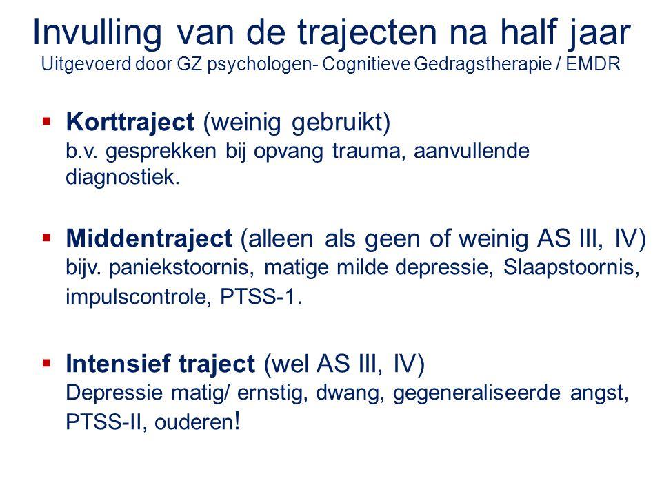 Invulling van de trajecten na half jaar Uitgevoerd door GZ psychologen- Cognitieve Gedragstherapie / EMDR  Korttraject (weinig gebruikt) b.v. gesprek
