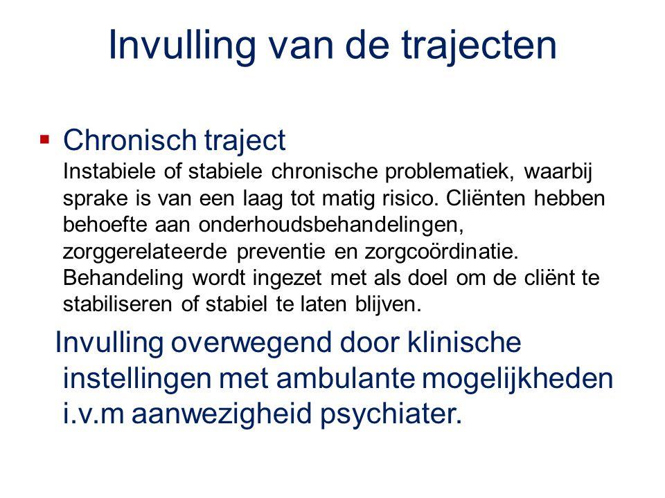 Invulling van de trajecten  Chronisch traject Instabiele of stabiele chronische problematiek, waarbij sprake is van een laag tot matig risico. Cliënt
