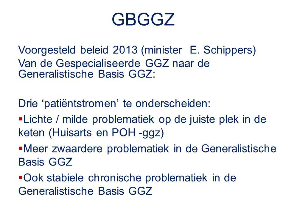 GBGGZ Voorgesteld beleid 2013 (minister E. Schippers) Van de Gespecialiseerde GGZ naar de Generalistische Basis GGZ: Drie 'patiëntstromen' te ondersch