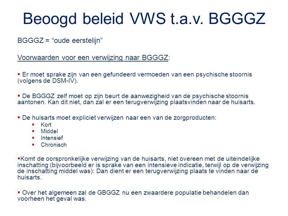 """Beoogd beleid VWS t.a.v. BGGGZ BGGGZ = """"oude eerstelijn"""" Voorwaarden voor een verwijzing naar BGGGZ:  Er moet sprake zijn van een gefundeerd vermoede"""