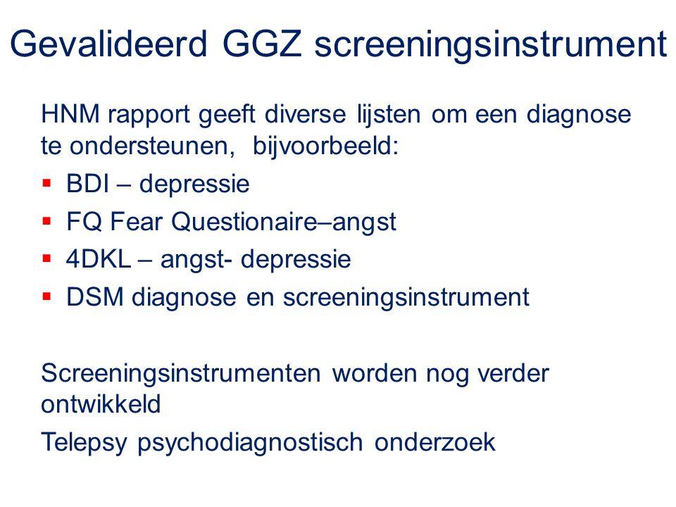 Gevalideerd GGZ screeningsinstrument HNM rapport geeft diverse lijsten om een diagnose te ondersteunen, bijvoorbeeld:  BDI – depressie  FQ Fear Ques