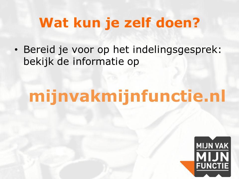 Wat kun je zelf doen? Bereid je voor op het indelingsgesprek: bekijk de informatie op mijnvakmijnfunctie.nl