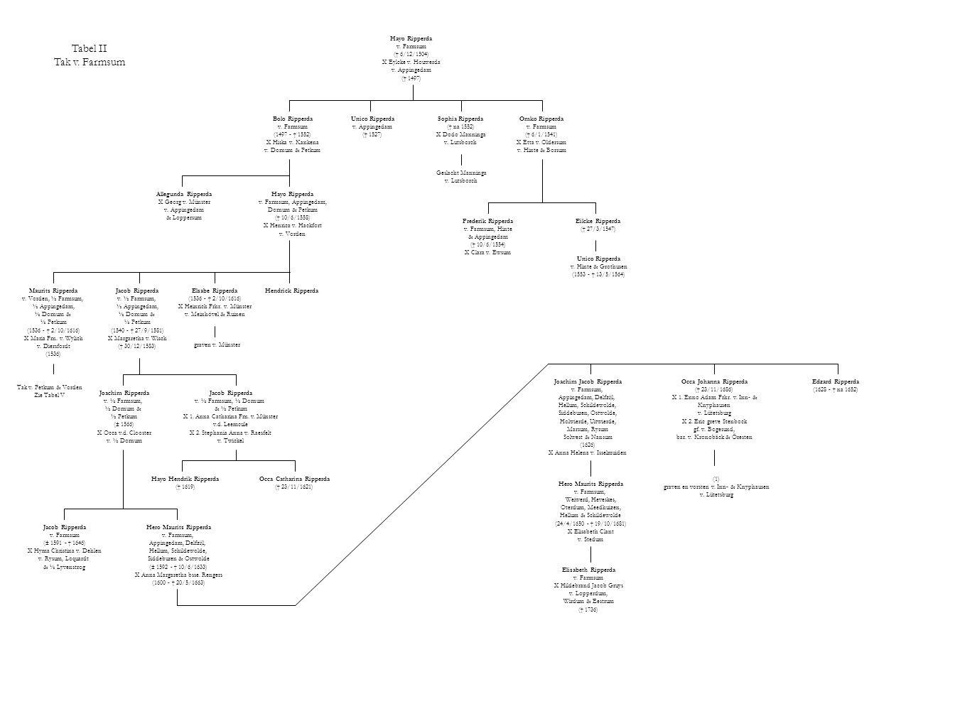 Tabel II Tak v. Farmsum Hayo Ripperda v. Farmsum († 6/12/1504) X Eylcke v. Houwerda v. Appingedam († 1497) Bolo Ripperda v. Farmsum (1497 - † 1552) X