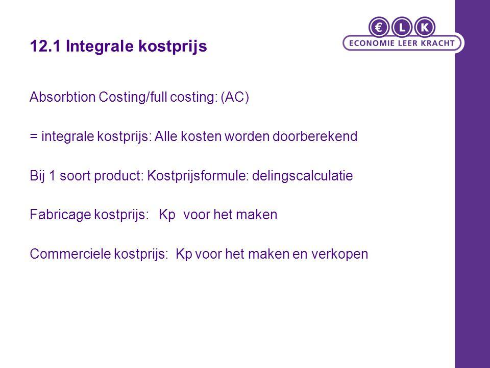 12.1 Integrale kostprijs Absorbtion Costing/full costing: (AC) = integrale kostprijs: Alle kosten worden doorberekend Bij 1 soort product: Kostprijsfo