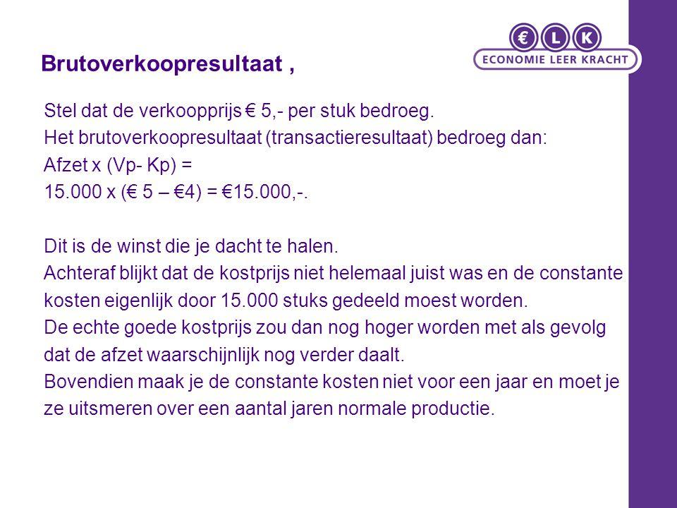 Nettowinst (voorcalculatie) De echte nettowinst is dan ook: Brutoverkoopresultaat +bezettingsresultaat (voorcalculatie) € 15.000+ - € 1.000 = € 14.000,- Of: Omzet - alle kosten 15.000 x € 5-(€ 16.000+ € 45.000) € 75.000- € 61.000 = € 14.000,- N.B.