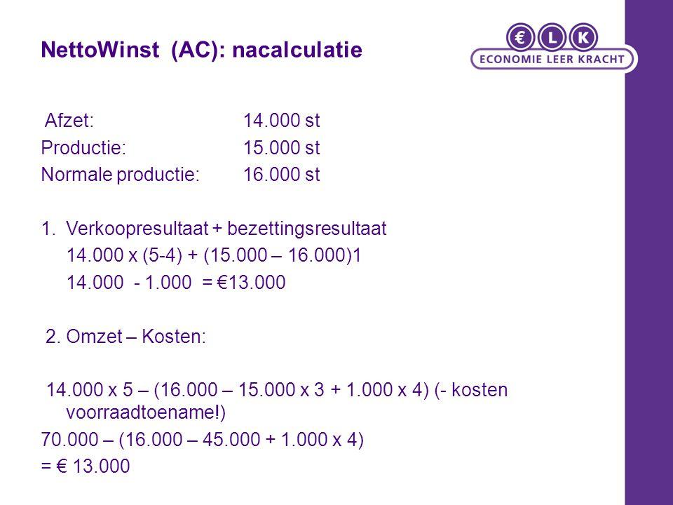 NettoWinst (AC): nacalculatie Afzet: 14.000 st Productie: 15.000 st Normale productie: 16.000 st 1.Verkoopresultaat + bezettingsresultaat 14.000 x (5-