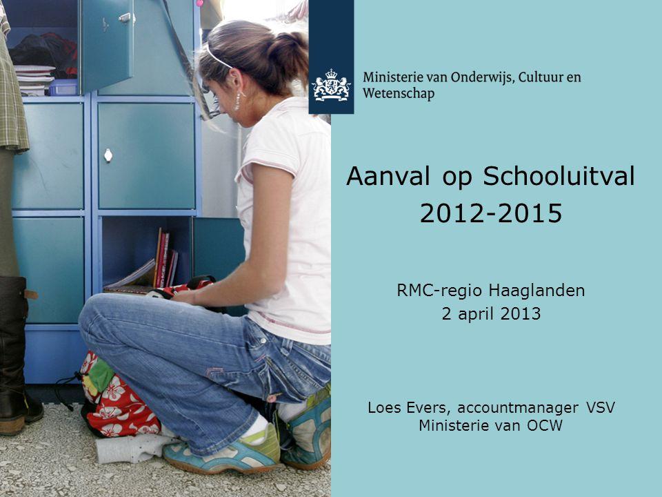 Aanval op Schooluitval 2012-2015 RMC-regio Haaglanden 2 april 2013 Loes Evers, accountmanager VSV Ministerie van OCW
