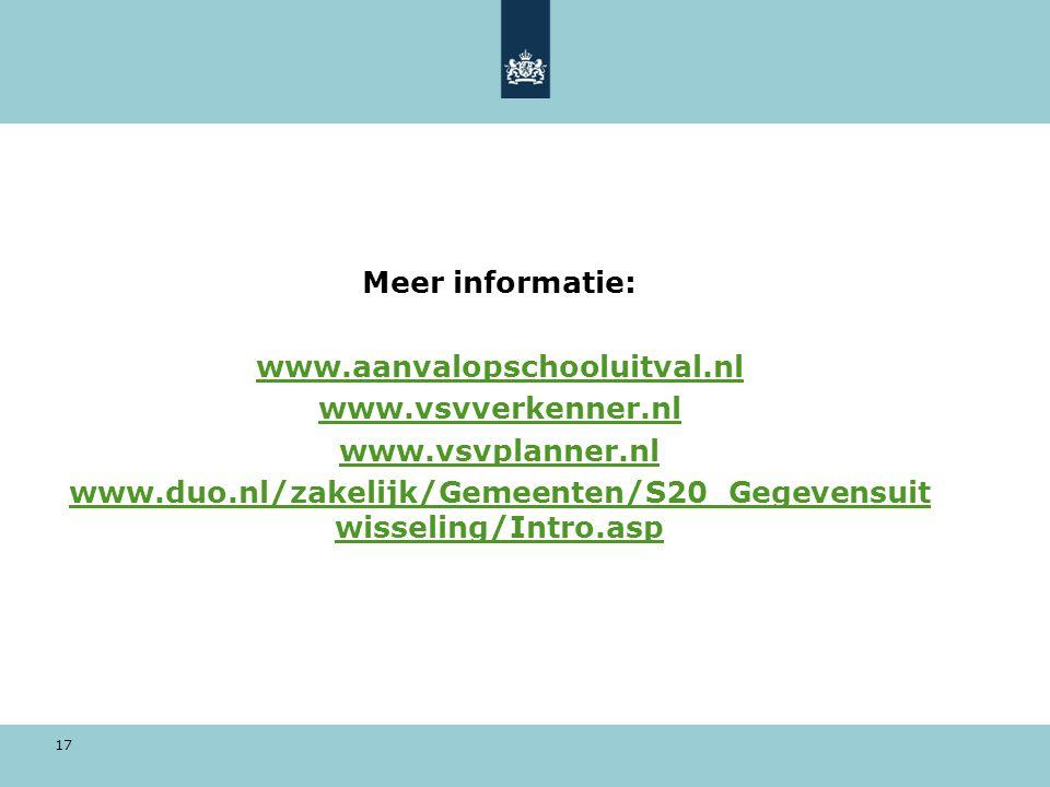 17 Meer informatie: www.aanvalopschooluitval.nl www.vsvverkenner.nl www.vsvplanner.nl www.duo.nl/zakelijk/Gemeenten/S20_Gegevensuit wisseling/Intro.as