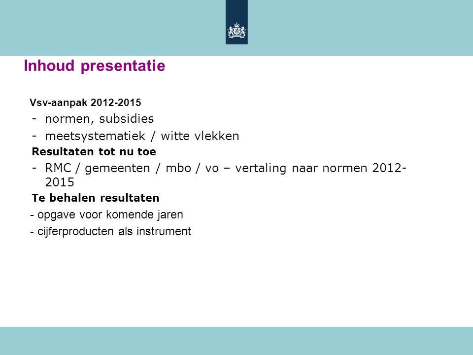 Inhoud presentatie Vsv-aanpak 2012-2015 -normen, subsidies -meetsystematiek / witte vlekken Resultaten tot nu toe -RMC / gemeenten / mbo / vo – vertal