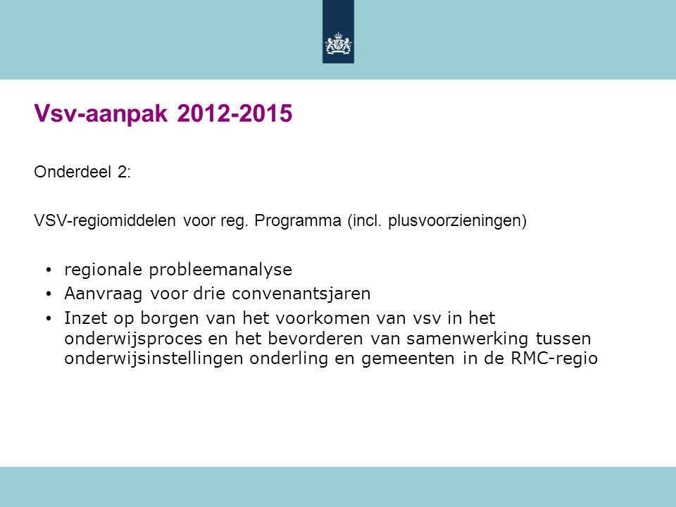 Vsv-aanpak 2012-2015 Onderdeel 2: VSV-regiomiddelen voor reg. Programma (incl. plusvoorzieningen) regionale probleemanalyse Aanvraag voor drie convena
