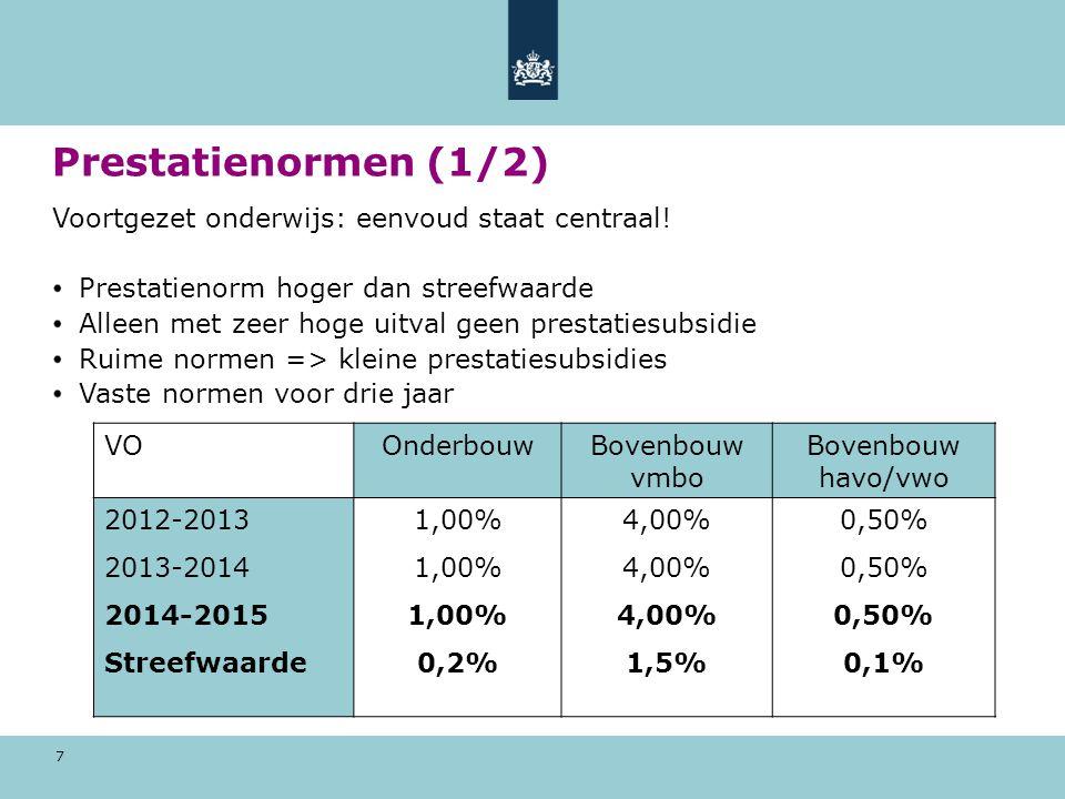 8 Prestatienormen (2/2) Middelbaar beroepsonderwijs: scherp en uitgebalanceerd Normen sluiten aan bij streefwaarden (25.000) Scherpe normering => hogere prestatiebedragen Aflopende normen per convenantjaar Dalers / stijgers MBOMbo1Mbo2Mbo3/4 2012-201332,50%13,50%4,25% 2013-201427,50%11,50%3,50% 2014-201522,50%10%2,75%