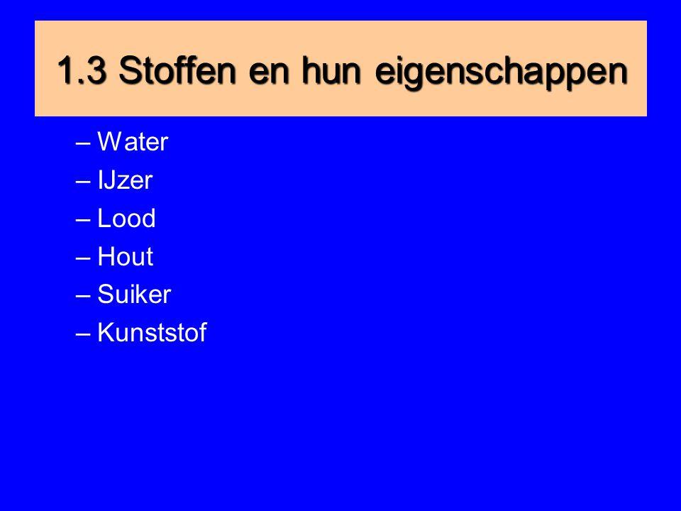 1.3 Stoffen en hun eigenschappen –Water –IJzer –Lood –Hout –Suiker –Kunststof