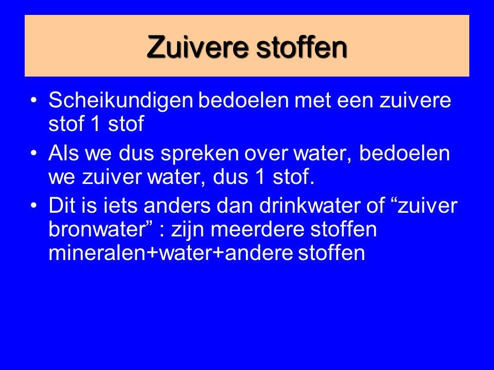 Zuivere stoffen Scheikundigen bedoelen met een zuivere stof 1 stof Als we dus spreken over water, bedoelen we zuiver water, dus 1 stof.