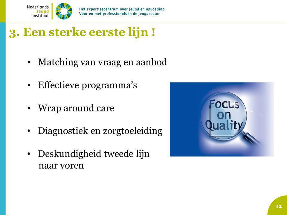 12 3. Een sterke eerste lijn ! Matching van vraag en aanbod Effectieve programma's Wrap around care Diagnostiek en zorgtoeleiding Deskundigheid tweede