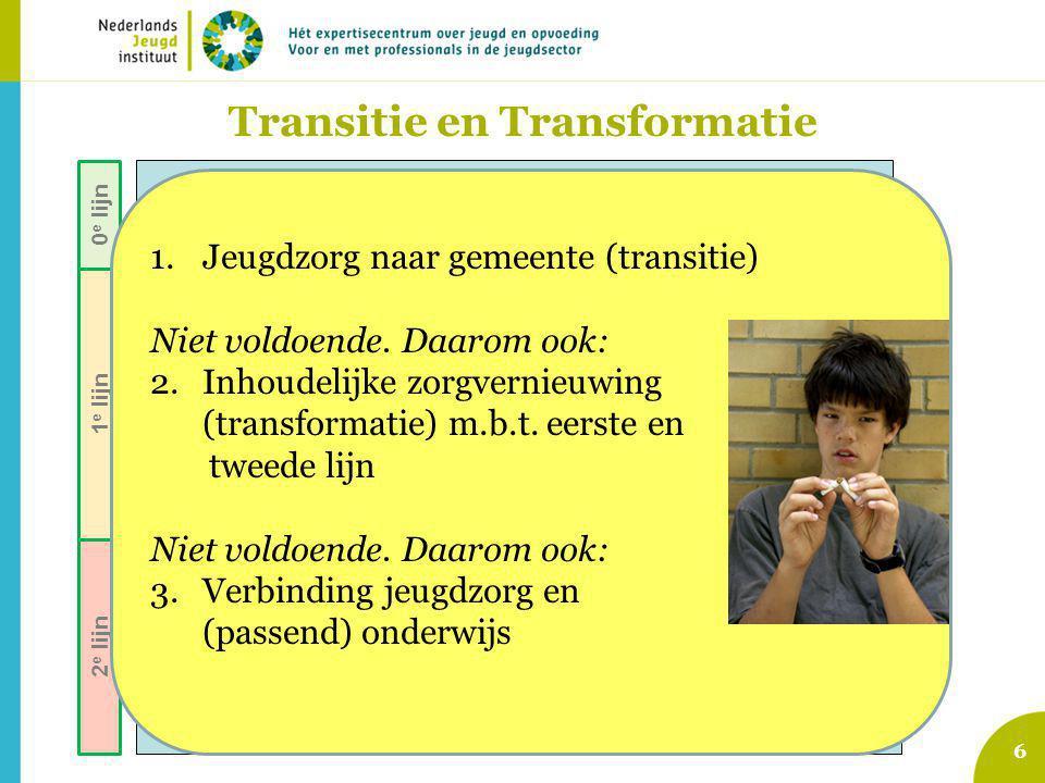 7 Voorzieningen gewone opgroeien en opvoeden jeugdigen Signalering opgroei- en opvoedproblemen Indicatie voor specialistische hulp / maatregel Jeugd-GGZ (AWBZ pgb zorgverz.) Vrijwillige J&O-hulp: (ambulant, dag/nacht, pleegzorg) Vroeginterventie, lichte pedagogische ondersteuning Aanbod van algemene en selectieve preventieve programma's Jeugd- Bescherming & Reclassering Zorg voor Jeugd-LVG (AWBZ … etc) Speciaal onder- wijs (Cluster IV ) 0 e lijn 1 e lijn 2 e lijn Ingredienten 1.